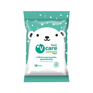 V CARE ANTI-BACTERIAL MULTI PURPOSE WIPES PACK OF 18
