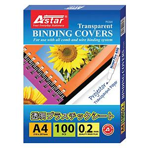 Astar Binding Cover PVC A4 Clear 0.2MM - Box of 100