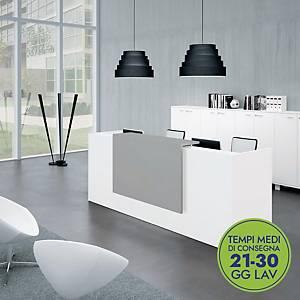 Postazione reception L 166 x P 88 x H 113 cm bianco/grigio