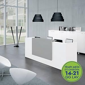 Postazione reception L 246 x P 88 x H 113 cm bianco/grigio