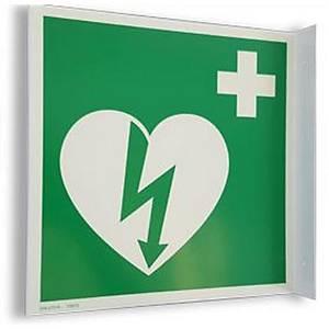 Fahnenschild Defibrillator Zoll AED, 20x20cm, weiss/grün