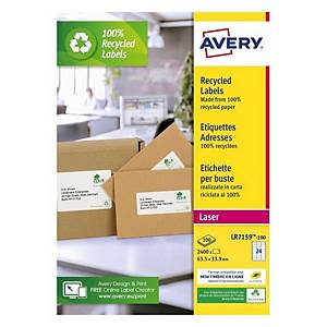 Pack de 100 etiquetas 100% recicladas Avery - 63,5 x 38,1 mm - branco