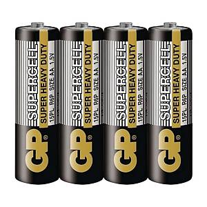 GP Supercell AA Carbon Zinc Shrink Pack - Pack of 4