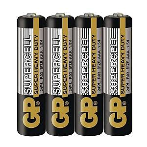 GP Supercell AAA Carbon Zinc Shrink Pack - Pack of 4