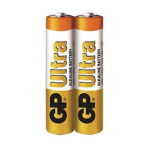 GP Ultra Alkaline AAA Alkaline Battery Shrink Pack - Pack of 2
