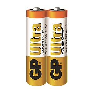GP Ultra Alkaline AA Alkaline Battery Shrink Pack - Pack of 2