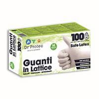 Guanti monouso Bericah Skin Protek lattice talcati bianco tg M - conf. 100