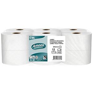 Pack de 12 rolos de papel higiénico Amoos - 250 m