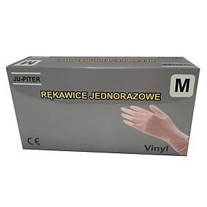 Rękawice winylowe JU-PITER PF, transparentne, rozmiar M, 100 sztuk