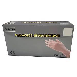 Rękawice winylowe JU-PITER PF, transparentne, rozmiar L, 100 sztuk