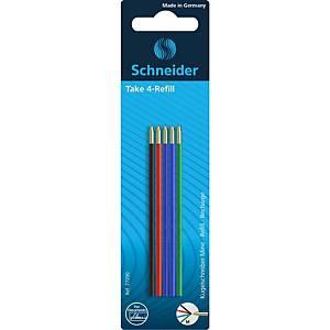 Schneider 77290 Ersatzminen für Take 4-Farben-Kugelschreiber, 4 Farben