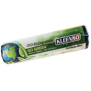 Kleenso Bio-Degradable Garbage Bag Medium Black - Roll of 10