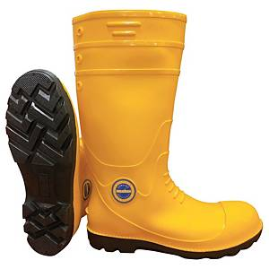 **MR MARK High Cut Rain Shoes Yellow With Steel Cap - Size 38