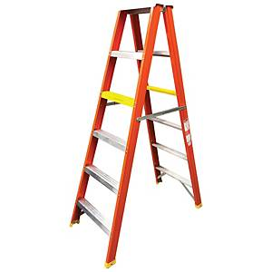 Worker Single Double Sided 5 Step Heavy Duty Ladder