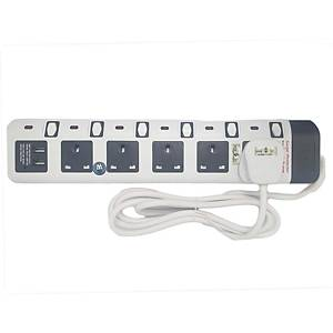 Sum 5 Way Extension with 2 USB Port 2M