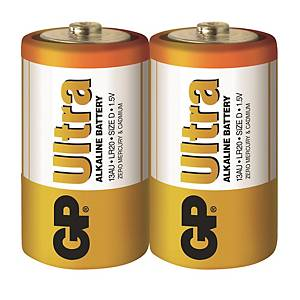 GP Ultra Alkaline Batteries D - Pack of 2
