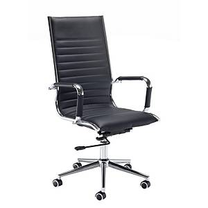 Bari High Back Executive Chair - Black Faux Leather - Del & Ins