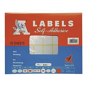 A LABELS 204 白色標籤 25 X 76毫米 每包240個標籤