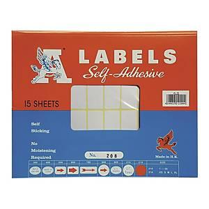 A LABELS 208 白色標籤 19 X 38毫米 每包600個標籤