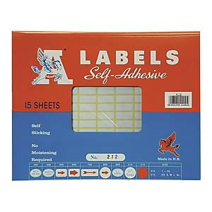 A Labels 212 8 x 20mm - Pack of 216