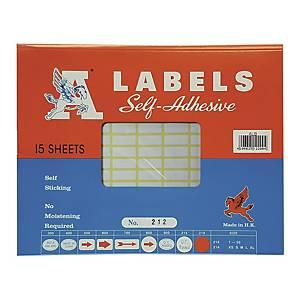 A LABELS 212 白色標籤 8 X 20毫米 每包2160個標籤