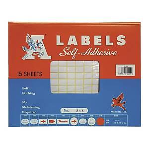 A LABELS 213 白色標籤 9 X 13毫米 每包2940個標籤