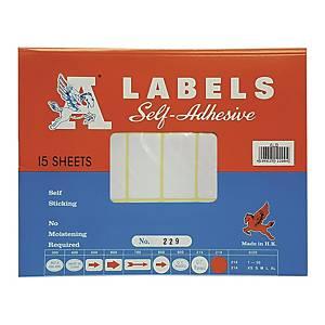 A LABELS 229 白色標籤 25 X 50毫米 每包360個標籤