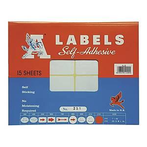 A LABELS 231 白色標籤 76 X 100毫米 每包60個標籤