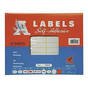A LABELS 235 白色標籤 13 X 45毫米 每包660個標籤