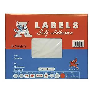 A LABELS 240 白色標籤 165 X 203毫米 每包15個標籤
