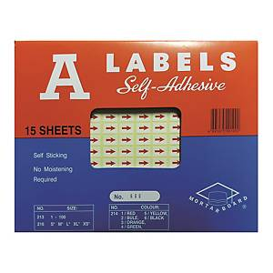 A Labels Red Arrow Label - Pack of 2940
