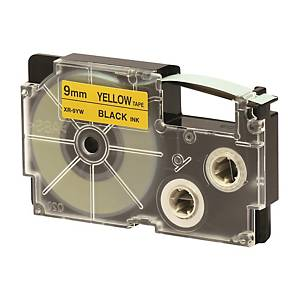 CASIO XR-9YW1 Tape 9mm x 8m Black on Yellow