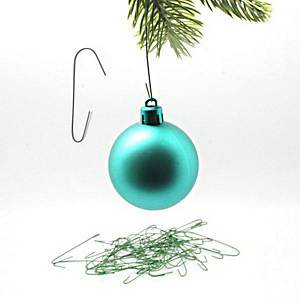 PK50 BAUBLE HANGERS GREEN HOOKS