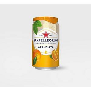 San Pellegrino Sparkling Aranciata (Orange) Can 330ml - Pack of 4