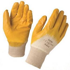 My-t-Gear NBR handschoenen, nitril gecoat, geel, maat 9, per 12 paar