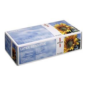 Jednorazové latexové rukavice AKZENTA Pure, veľkosť S, biela, 100 ks