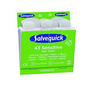 Salvequick 6943 sensitive pleisters, pak van 6 x 43 stuks