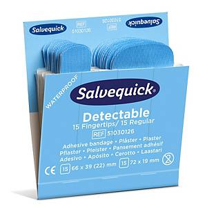 Salvequick 51030126 detecteerbare pleisters assorti, pak van 6 x 30 stuks