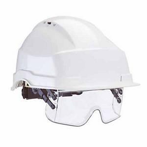 Auboueix Iris 2 veiligheidshelm met geïntegreerde veiligheidsbril, wit