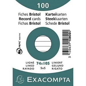 Karteikarte Exacompta A7, liniert, weiß, 100 Stück