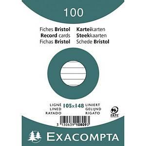 Karteikarte Exacompta A6, liniert, weiß, 100 Stück