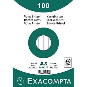Karteikarte Exacompta A5 liniert, weiß, 100 Stück
