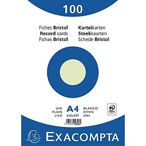 Karteikarte Exacompta A4, blanko, grün, 100 Stück