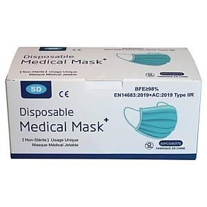 Masques chirurgicaux 3 plis type 2R bleus - boite de 50