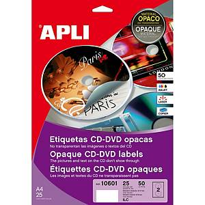 Caixa 50 etiquetas para CD/DVD Apli 10601 - Ø 117mm - Branco opaco