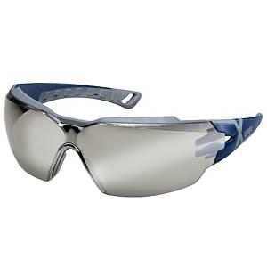 Sicherheitsbrille UVEX Pheos CX2, Scheibentönung grau, blau/grau