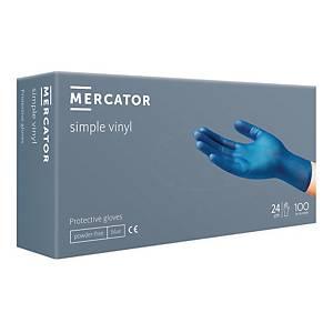 Rękawice winylowe MERCATOR SIMPLE PF, niebieskie, rozmiar M, opakowanie 100 szt