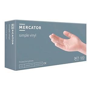 Rękawice winylowe MERCATOR SIMPLE PF, transparentne, rozm L, opakowanie 100 szt