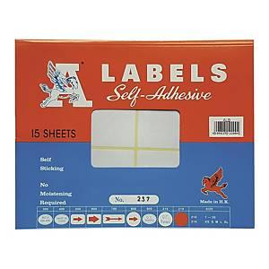 A LABELS 237 白色標籤 40 X 100毫米 每包90個標籤