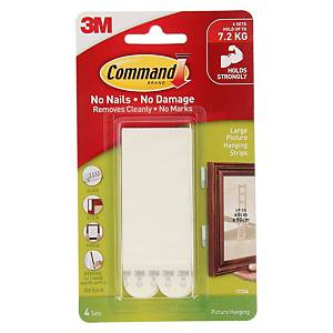 3M 17206 Command Large Picture Hanging Strip (Holds Up to 7.2kg) Pack of 4